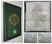 1836 Map of Staffordshire Stoke on Trent Leek folding coloured Map cloth covers