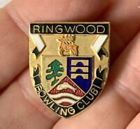 Vintage Metal Enamel RINGWOOD Bowling Club Association Pin Badge