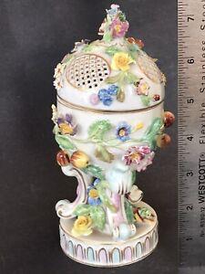 """Antique German Carl Thieme """"Fish Mark"""" Pot Pourri Incense Burner Applied Flowers"""