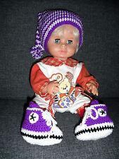 2tlg. Set: Zipfelmütze und Babyturnschuhe, gehäkelt, lila, Gr. 62/68 NEU