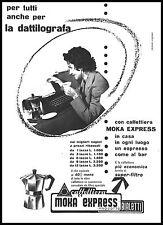 PUBBLICITA' MOKA EXPRESS  BIALETTI CAFFETTIERA DATTILOGRAFA CASA CRUSINALLO 1956