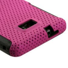 Straight Talk Samsung Galaxy II 2 S959G MESH Hybrid Rubber Skin Case Cover Pink