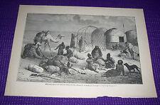 1899 Antique Print Encampment of Uigur Turcomans Drawn by Emile Bayard
