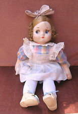 """Vintage Cloth Mask Face Doll Girl Blond Hair 18""""T"""