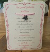 Personalised Goddaughter Godson Godchild Card Gift Christening Godparents charm