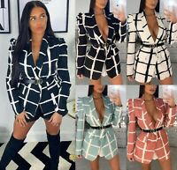 Women's Ladies Check Padded Puff Sleeve GG Party Belted Blazer Waistcoat Top