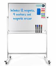 Portable Dry Erase Board On Wheels - Double Sided White Board 48