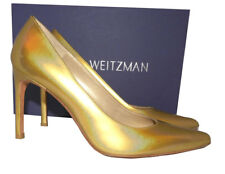 Stuart Weitzman Curvia Leather 100mm Pump Shoe 8- 38 Gold Mustard Pointy Toe