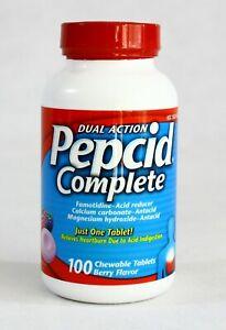 Pepcid Dual Action Complete 100 Chewable Tablets Berry Flavor 05/2023