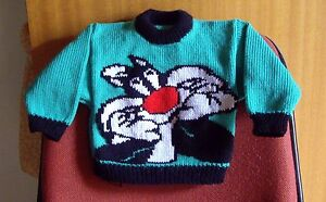 SYLVESTER CAT NEW HAND KNITTED SIZE 2-3