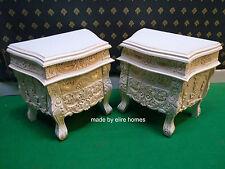 2 x Rococò CASSETTONE INTARSIATO... COMODINI... Antico biancastro/Crema/Avorio