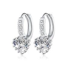 Earrings Teardrop Cubic Zirconia Leverback Fashion Lady Sterling Silver Plated