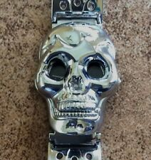 MEN'S SILVER COVERED SKULL WATCH URBAN BIKER STYLE COVERED WATCH BLACK DIAL COOL