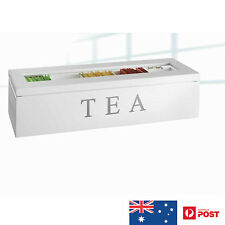 UniGift Wooden Tea Box 5 Compartments with Glass Top - White NEW in Gift Box