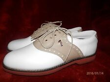 Lady Fairway Colonial Leather White/Khaki Saddle Golf Shoes 6M metal cleats NEW