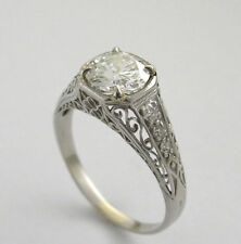 CertifIed 7.5mm Off White Round Moissanite Diamond 14K White Gold Solitaire Ring