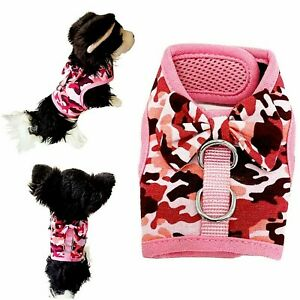 Pink Girly Camouflage Print Mesh Breathable Puppy Dog Harness Dog Kitten Rabbit