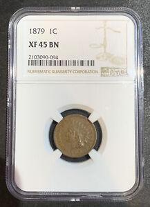 1879 Indian Head Penny 1C XF 45 BN NGC