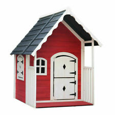 Keezi Kids Wooden Cottage Playhouse - Red