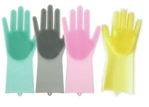 UK Magic Silicone Rubber Dish Washing Gloves 2 in1 Scrubber Cleaning Scrubbing