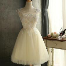 Short Tulle Prom Gown Applique Party Cocktail Bridesmaid Homecoming Dresses 0416