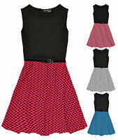 Girls Sleeveless Belted Skater Dress New Kids Flared Party Dresses 5 6 7 8 Years