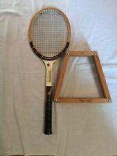 KEN ROSEWALL Tennis ~ Vintage Seamless Wooden Racquet With Wooden Press