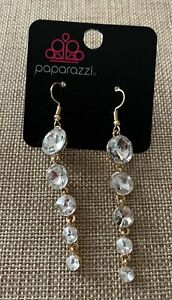 Paparazzi Accessories Raining Rhinestones Gold Dangle Earrings
