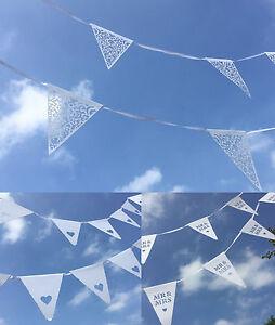 Wedding Paper Bunting Decoration Elegant White Flag Lace Pattern Mr Mrs Heart