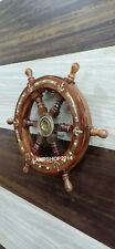 "Nautical Look Ship Wheel 12"" Wooden and Bras Wall Decor"