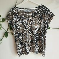 Vintage 80s Animal Tiger Face Print T-Shirt M-L Cap Sleeves Cotton Blend Casual