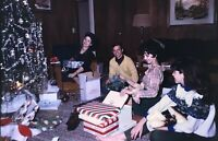 Christmas Morning 1968 Vintage Clothing Slide Photograph Picture Tinsel Gifts