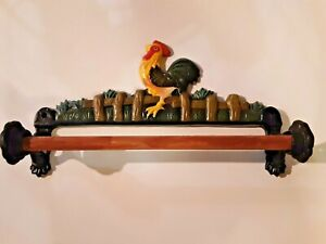 Cast Iron Red Rooster Wall mount Paper Towel Holder  Country Kitchen Décor