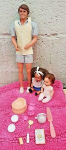 BARBIES vintage papa et 2 bébés La famille doucoeur