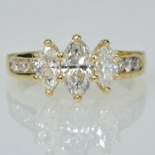 14k Yellow Gold 1 1/2 Cttw Marquise Three Stone Diamond Band Engagement Ring