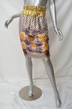 EP EASTON PEARSON Purple Yellow Metallic Gold Floral Pencil Skirt AU8 Fits 6/8