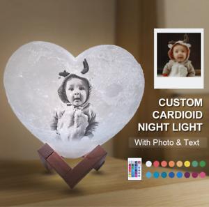 3D Print Moon Lamp Heart Night Light Photo & Text Custom made Personalized Moon
