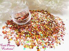 Nail Art *Princess Pocahontas* Reds Gold Autumn Holographic Hex Mix Glitter Pot