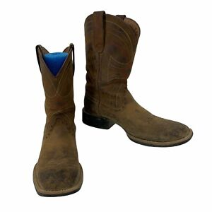 Ariat Square Toe Leather Boots Men's Size 7.5 D Wide Brown Western Cowboy Riding
