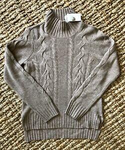 NEIMAN MARCUS Exclusive S Lt Br100% CASHMERE Cable Knit Detail Mock Neck Sweater