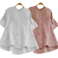 Womens Cotton Embroidery Short Sleeve Blouse Loose T Shirt Tunic Tops Tee Shirts
