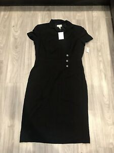 Talbots Dress • Breast Buttons • Collar Wrap Over Style To Front • Size 14