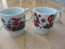 VINTAGE STACKABLE JAPAN MADE SANTA CLAUS CHRISTMAS CUPS COFFEE HOT CHOCOLATE