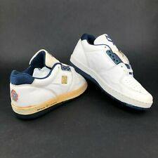 Vintage 80s MCM Leather White Low Tops Shoes Mens 7 Gold Metal Lace Ups Logo DS