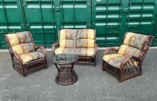 Wicker/Cane Conservatory Furniture Set Dark Wood Brown Gothic Vintage