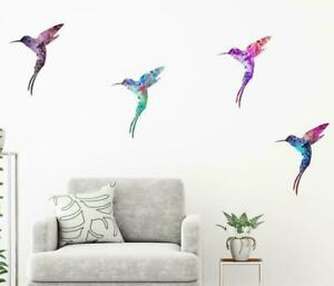 Humming Bird Colorful Flying Bird Wall Art Sticker 4 pack Vinyl Decal  H1