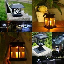 Outdoor Solar Powered LED Post Deck Lantern Garden Light Path Landscape Lamp