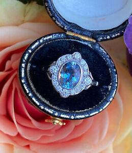 Victorian Aquamarine and Diamond Cluster Platinum Ring 0.35ct + 1.0ct