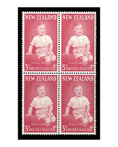 New Zealand 1963 Health 3d Prince Andrew Block/4 Stamps With Variety SG816a 10-4
