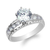 10K//14K or blanc 1.0 Ct ronde CZ incurvée Band Ring Taille 4-9